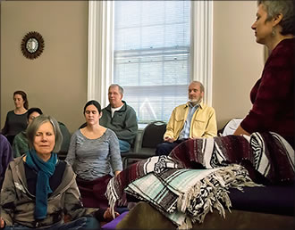 Group meditation at Asheville Insight Meditation