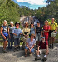 Asheville Insight Meditation hiking group at Dupont Forest waterfall