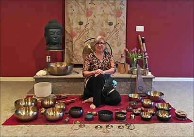Kate Freeman with Tibetan singing bowls