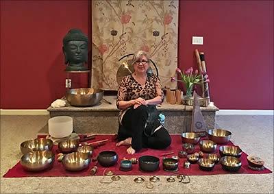 Kate Freeman with Tibetan singing bowls